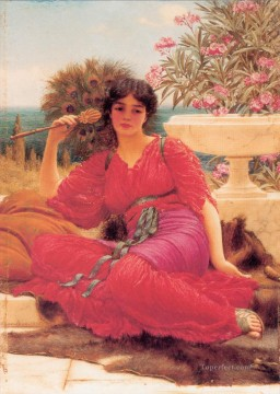oil Works - Flabellifera oil sketch Neoclassicist lady John William Godward